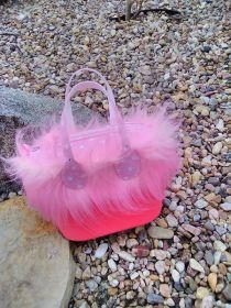 kabelka s kožešinovým lemem z růžové kožešiny, 90mm vlas