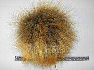 rezavo šedá kožešinová bambule, 13 - 14cm průměr