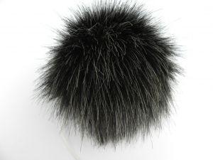 Kožešinová bambule, černý melír, 36 mm chlup