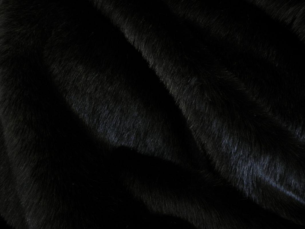 Umělá kožešina, černá, 27mm chlup