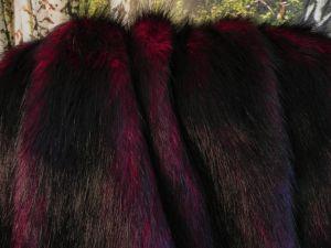 Umělá kožešina, vínově červená, 56mm vlas