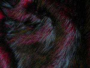 Umělá kožešina metráž, oděvní, vínově červená, vlas 50 mm, š. 148cm