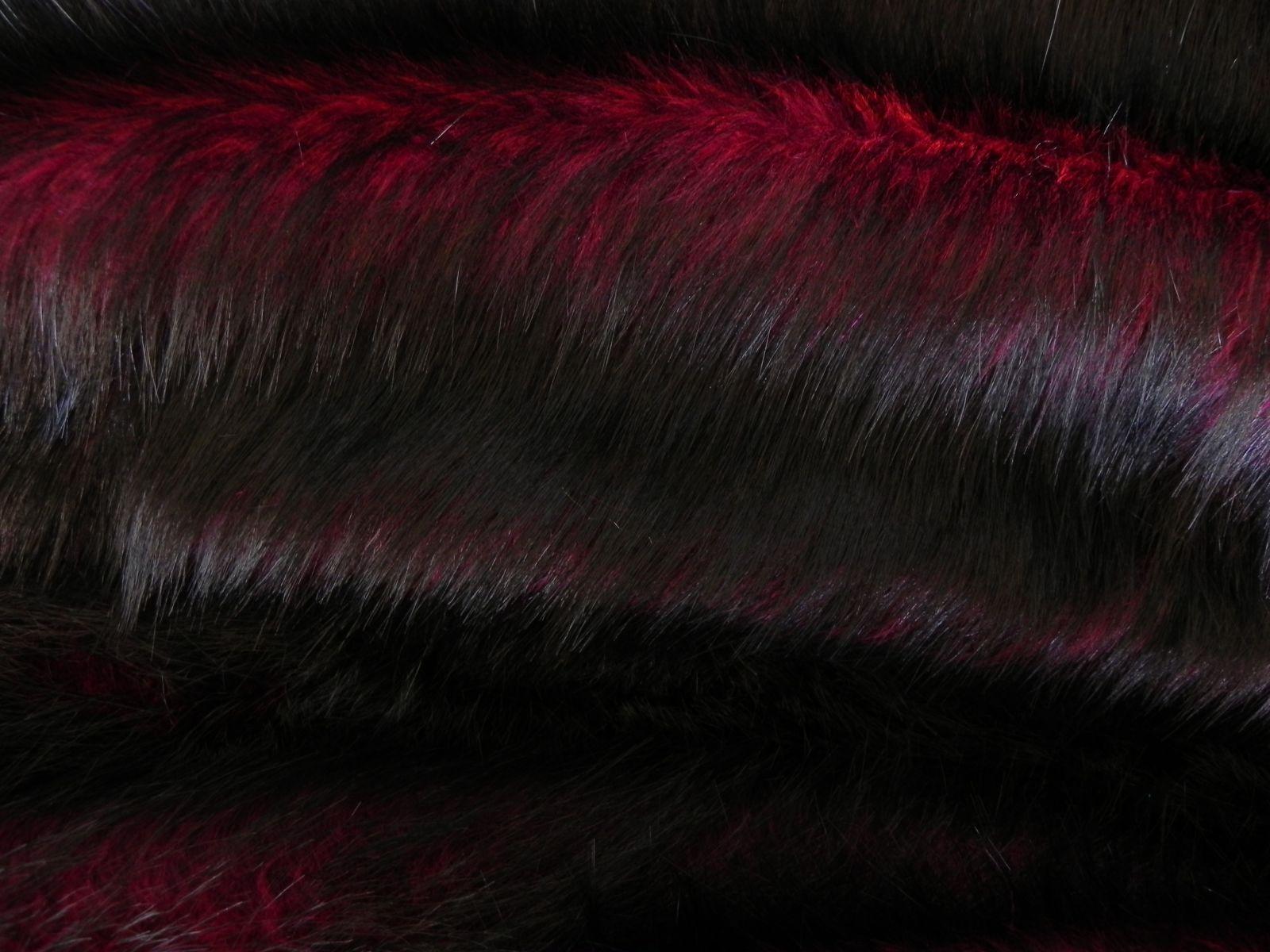 Luxusní umělá kožešina metráž, vínově červená, 50mm vlas, š. 146cm