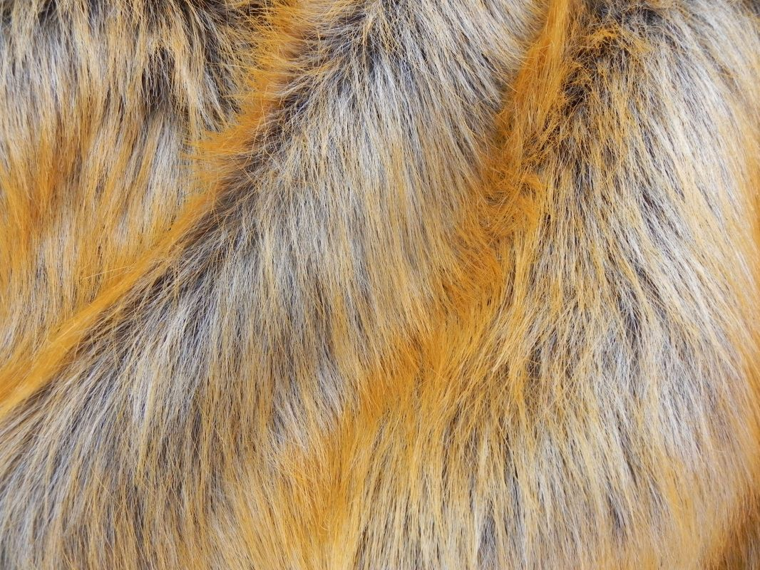 Luxusní umělá kožešina, rezavá liška, 56mm vlas