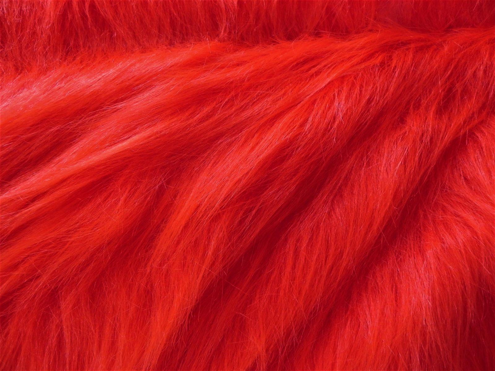 Umělá kožešina metráž, červená, 90mm vlas, š. 143cm