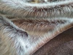 Umělá kožešina, oděvní, hnědý melír, 36mm vlas