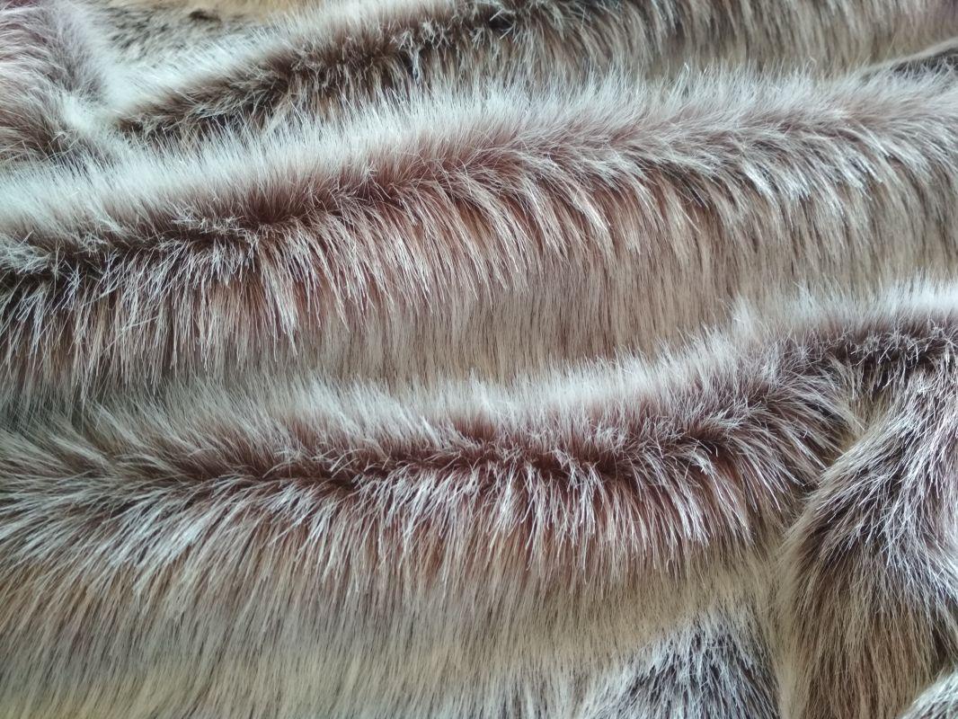 Umělá kožešina oděvní, hnědý melír, 36 mm vlas