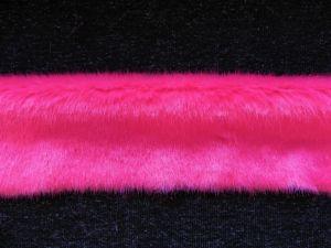 Kožešinový lem, růžový norek, 18mm vlas