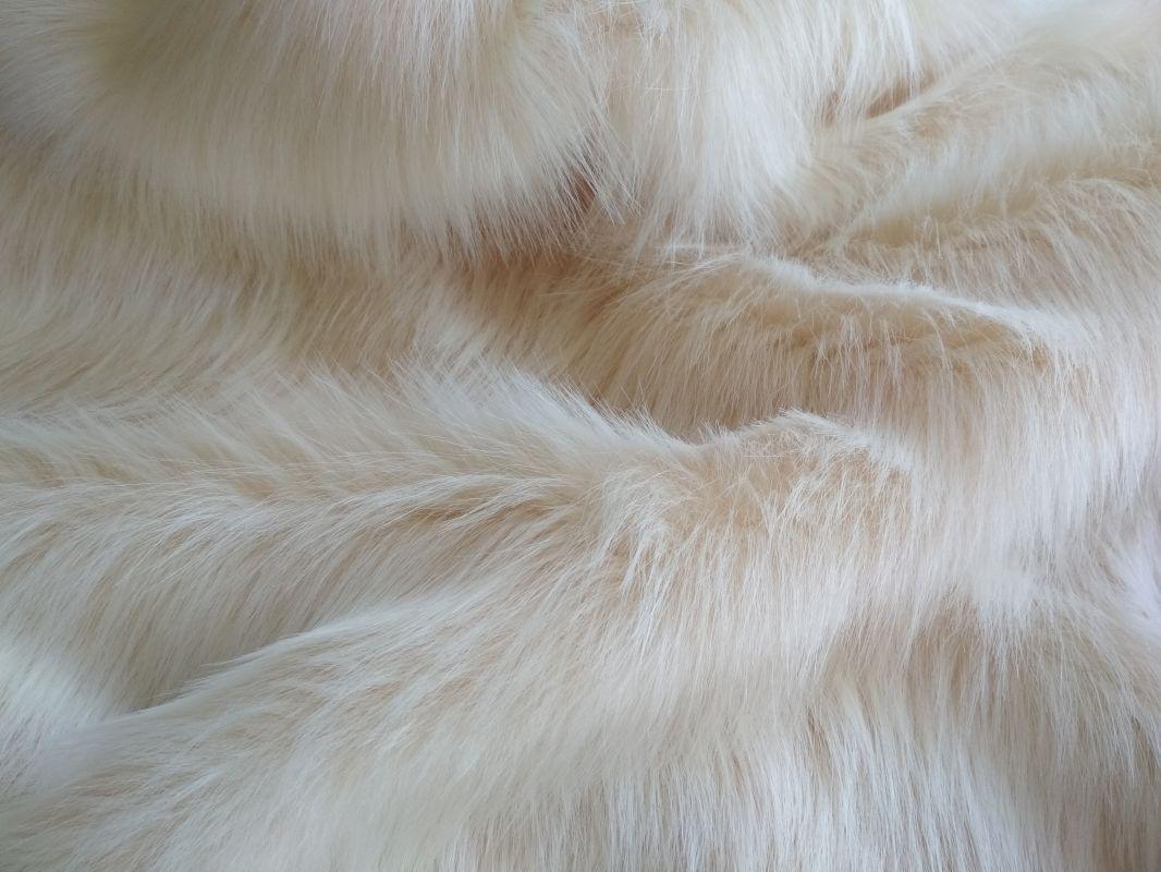 Umělá kožešina oděvní, světle béžová, 56mm vlas