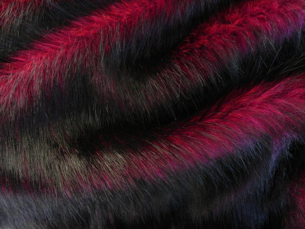 Umělá kožešina oděvní, vínově červená, 36mm vlas