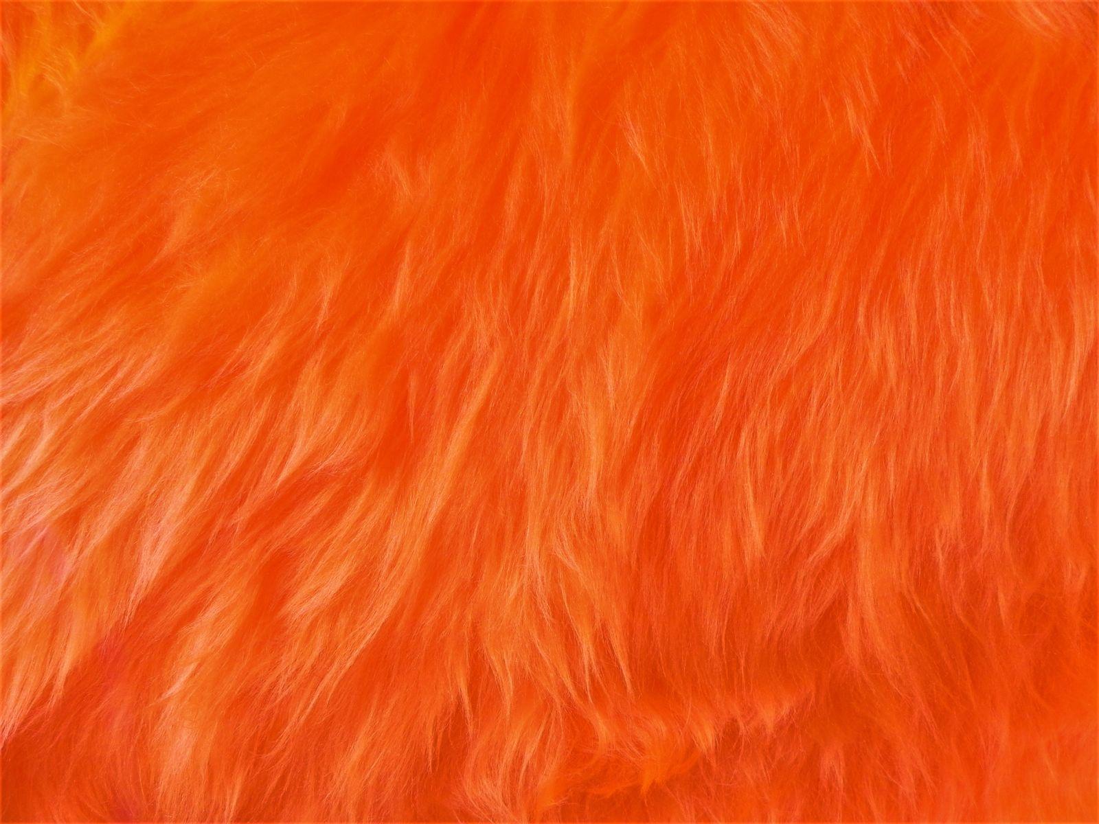 Umělá kožešina, metráž, oranžová, 45mm vlas, š. 149cm