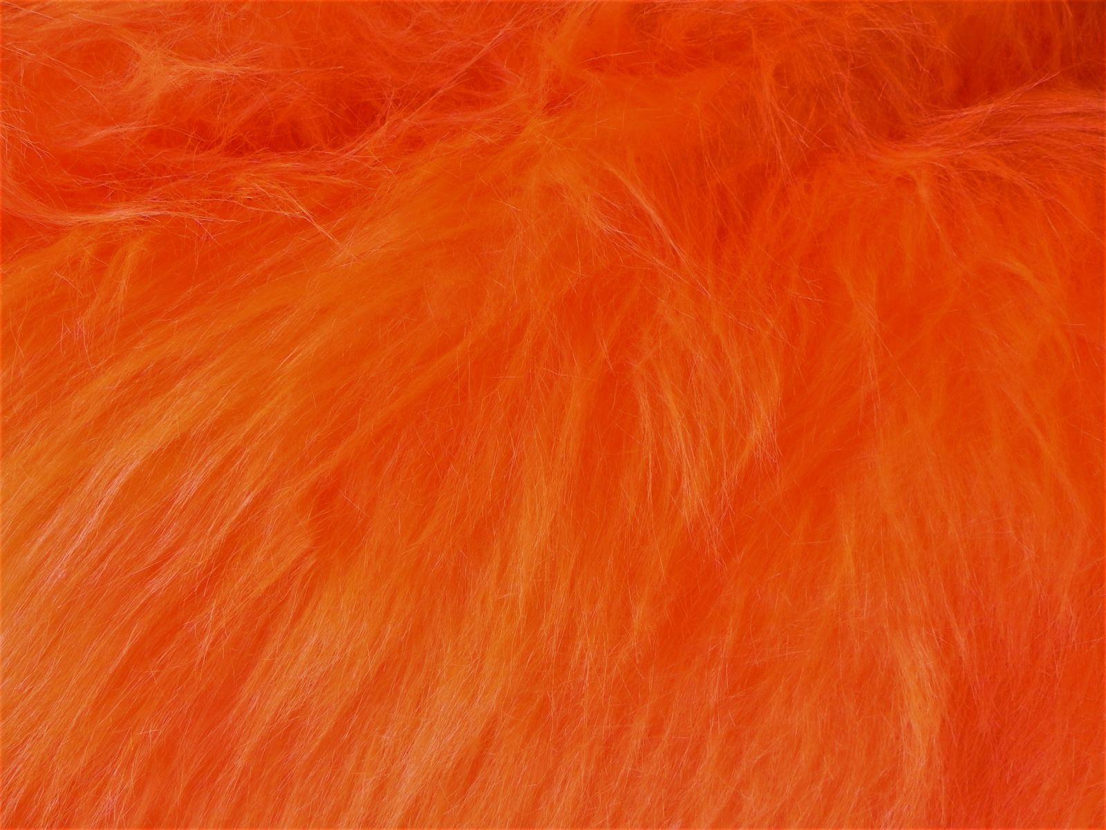 Umělá kožešina, metráž, oranžová, 90mm vlas