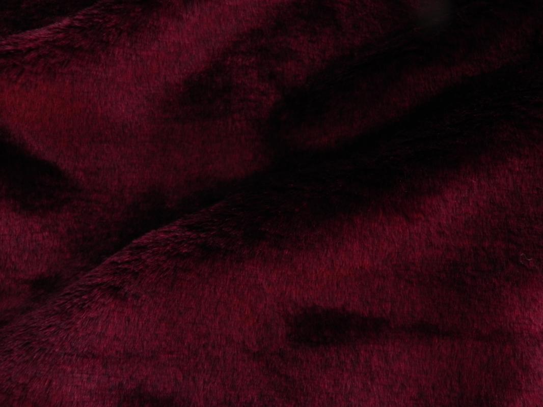 Umělá kožešina metráž, plyš,vínově červený, MERLOT, 9mm vlas