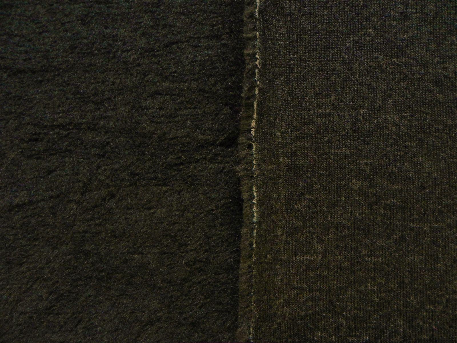 Umělá kožešina s vlnou, tmavé kaki, 12mm vlas, š.146cm