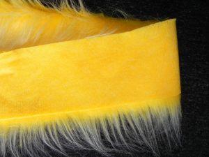 Kožešinový lem, žlutý melír, 90mm vlas, š. 147cm